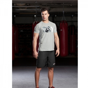 MENS COTTON BLEND MESH T-SHIRT / GREY