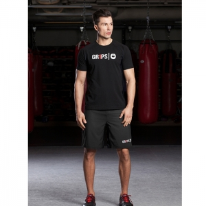 MENS COTTON BLEND MESH T-SHIRT / BLACK