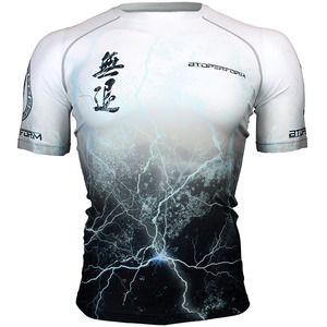 NO RETREAT -Thunder white [FX-303W] Full graphic compression short sleeve shirt