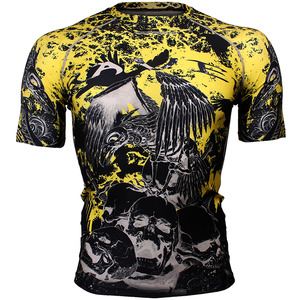 RAVEN SKULL [FX-325] Full graphic compression short sleeve shirt