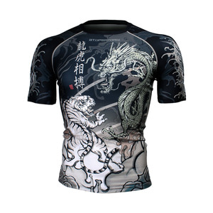DRAGON vs TIGER [FX-336] Full graphic compression short sleeve shirt